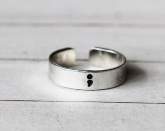 Semi Colon Ring, Suicide Awareness Ring, Semicolon Ring, Semi Colon Jewelry, Inspiration Jewelry, Hand stamped Cuff Ring,