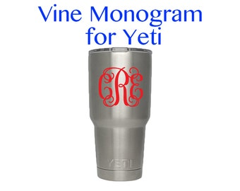 Yeti Vine Monogram Decal - DIY Vinyl Decal for Yeti - Custom Monogram Decal for 20oz or 30oz Yeti Rambler Cup - Yeti Cup Decal -Bottle Decal