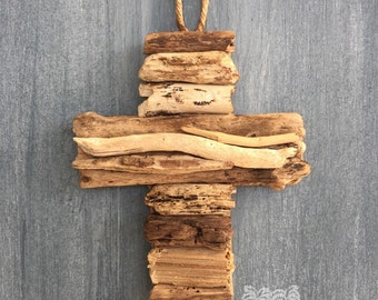 Driftwood Cross  / Small Coastal Decor / Ornament