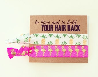 Hair Tie Bachelorette Favor | Pineapple + Flamingo Hair Tie Favors, Tropical Luau Bachelorette Hair Tie Favors, Beach Bachelorette Hair Ties
