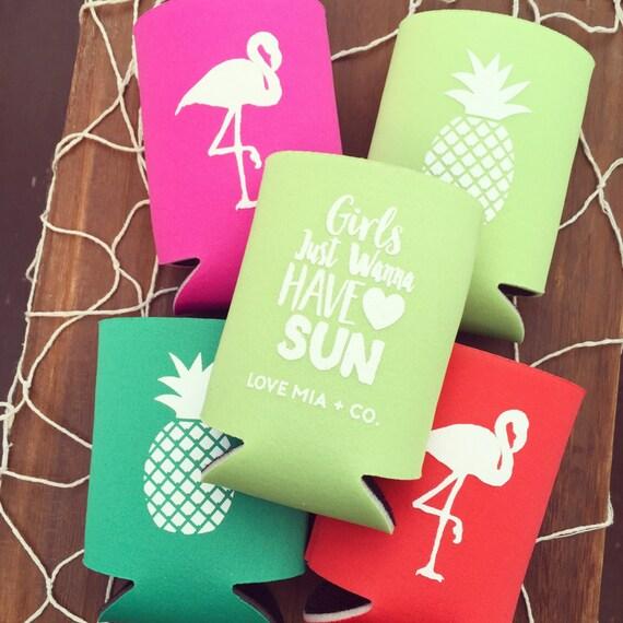 SALE Pineapple + Flamingo Bachelorette Party Favors | Beach Bachelorette Party Drink Cooler Favors, Tropical Bachelorette Party Drink Cooler