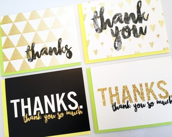 Gold & Black THANK YOU Cards with Neon Envelopes - Set of 4 or 8