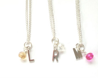 Initial Letter Necklace Silver Plated Gift