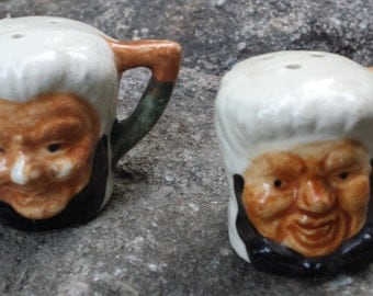 Vintage Ceramic Salt & Pepper Shakers - Faces