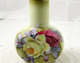 Nippon Hand Painted Vase, Green with Large Roses, Vintage Flower Vase