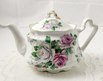Vintage Tea Pot, White with Roses, Teapot, Arthur Wood & Son, Vintage Teapot