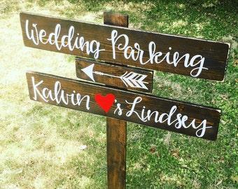 LARGE Wood Wedding Sign - Directional Wedding Sign - Reception Wedding Sign - Rustic Wood Sign