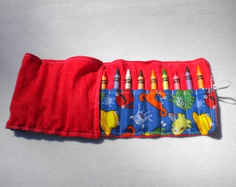 Red with Monster Crayon Roll