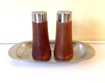 Cultura Vintage Teak Salt and Pepper Stainless Steel Salt Shakers Mid Century Modern Swedish