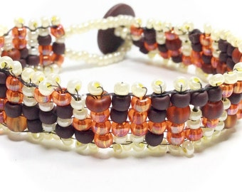 Beaded Bracelet,Cuff Bracelet,Handwoven Bracelet,Seed Beaded Bracelets,Fall Bracelets,Gift for her,Christmas Gift,Holiday Gifts,Autumn,Fall