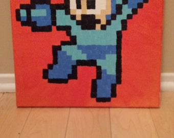 Megaman - Megaman 6 pixel painting 12x12 canvas (NES)