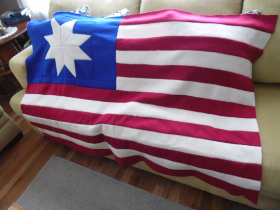 Vintage Handmade Large American Flag 8 Point Star Wall Hanging