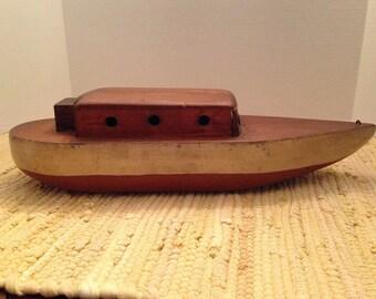 1920s Handmade Wooden Boat Model