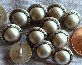 """Lot of 12 Silver Tone Domed Metal Shank Buttons just over 1/2"""" 13mm # 5796"""
