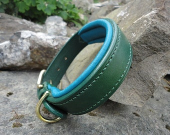 "Flat Padded Dog Collar, Handmade from English Bridle Leather, 1/2"", 5/8"", 3/4"", 1"" and 1 1/4"" widths to choose from, Handmade"