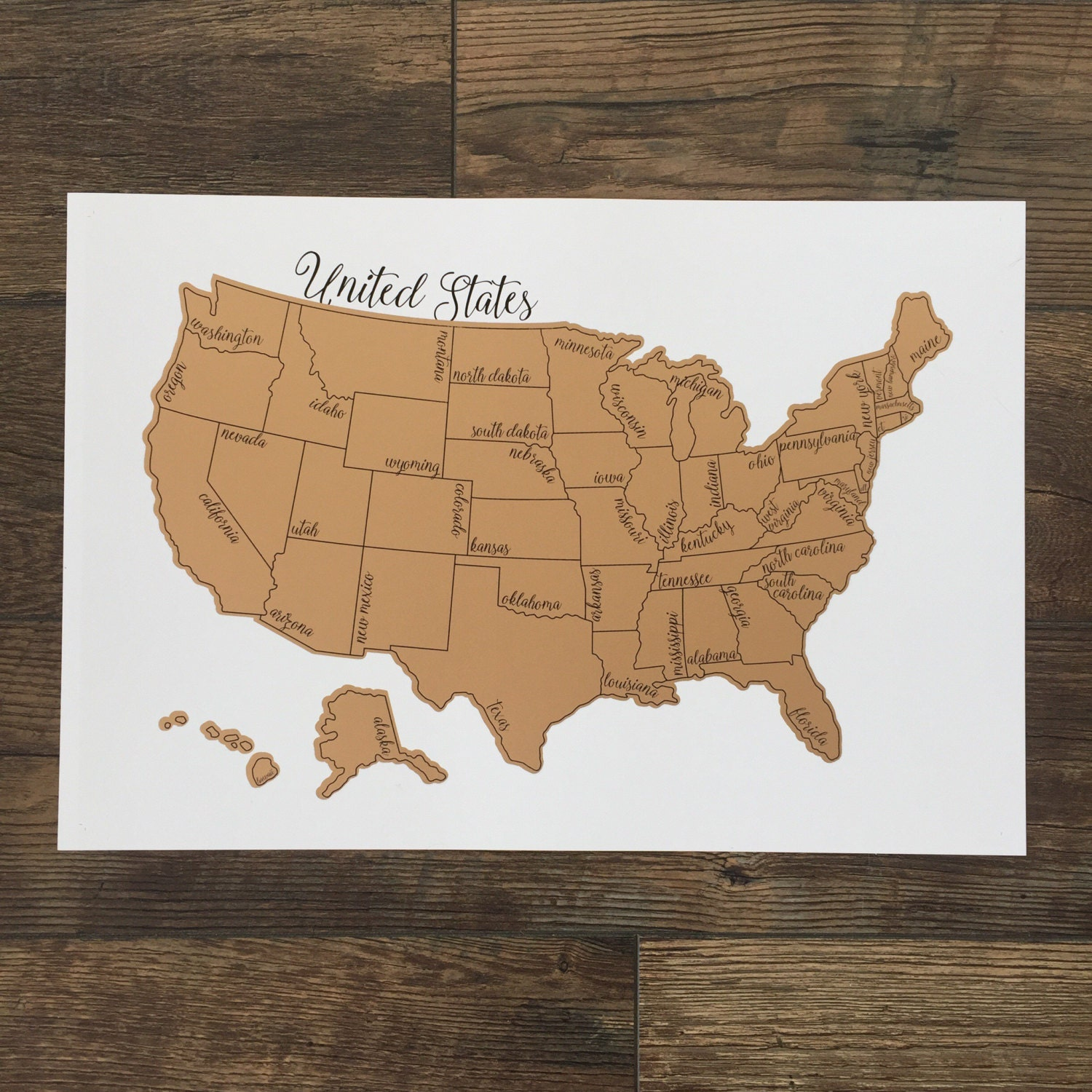 Holiday Sale Free Shipping Watercolor Scratch Off Map Rose - Watercolor us map