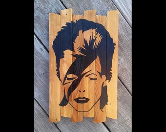 David Bowie Ziggy Stardust Painting on reclaimed wood MTO