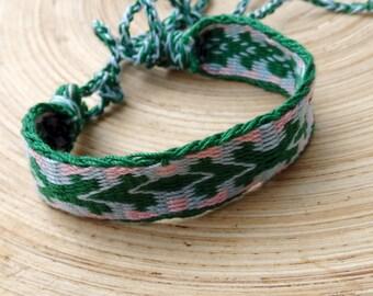 cotton bracelet, table weave woven friendship braclet, light blue green wrist band, handmade wrist cuffs, boho ethnic jewelry, arm band
