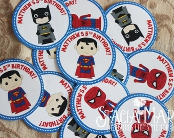 Super Hero Birthday Party Stickers