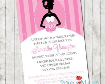 Elegant Bride Silhouette Bridal Shower Invite