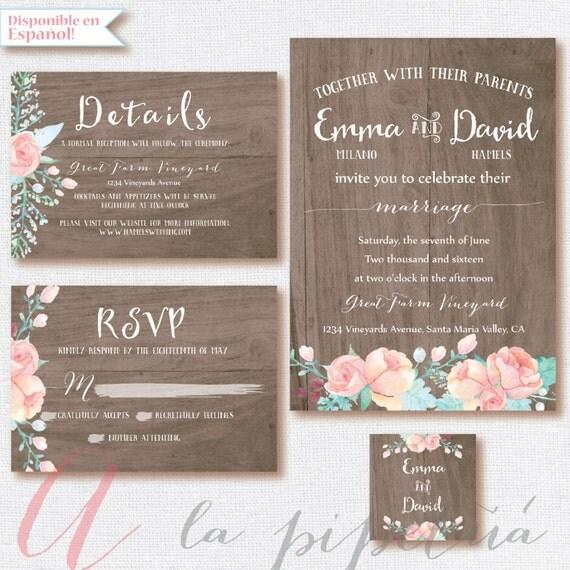 Wedding Invitation Rsvp Card: Wood Wedding Suit Wedding Invitation. Wedding RSVP Card