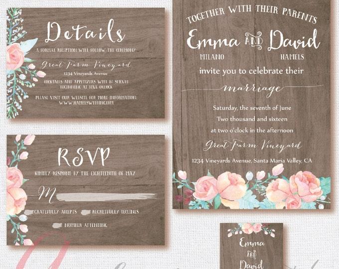 Wood Wedding Invitation, Wedding RSVP card, Wedding Rustic, Wood invitation. Weeding DIY, rustic,floral. Wood Printable wedding invitation.
