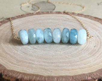 Aquamarine Necklace - Aquamarine  Jewelry - Aquamarine - Aquamarine Stone - Gold Necklace - Gift for Her - Bridesmaid Necklaces