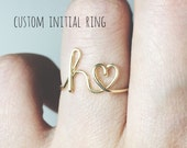 Custom initial ring/initial heart ring/letter heart ring/stackable ring/personalized Bridesmaid gift/wedding gift ideas/friendship gift