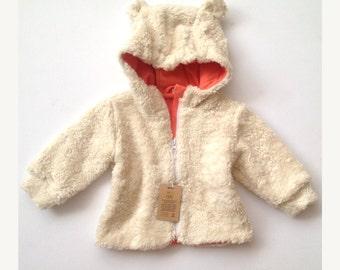 Organic cotton jacket white /  babygirl hoodie / Hooded jacket / Organic cotton hoodie /  white babygirl jacket