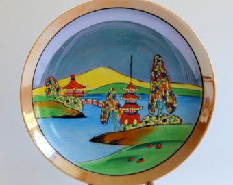 Moriage Lusterware, Japanese Landscape Porcelain Luster Plate, Hand Painted,  TWC Made in Japan