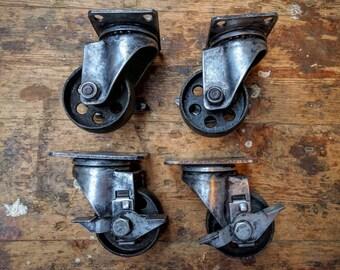 Vintage Industrial cast iron castor wheel casters swivel braked
