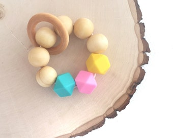 Wooden and Silicone Bead Teether, Teething Toy, Teething ring, Teething Bracelet, Pink, Yellow and turqiouse