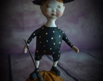 "Ooak HALLOWEEN Folk Art Whimsical Doll Figurine Sculpture ""Trick or Treater"" Witch by Deborah Bowe DCBARTSTUDIO"