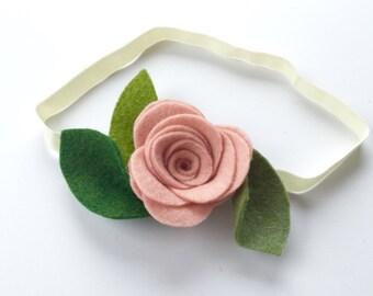 Pink rose flower head band, alligator clip, flower headband, rose quartz, pink blush