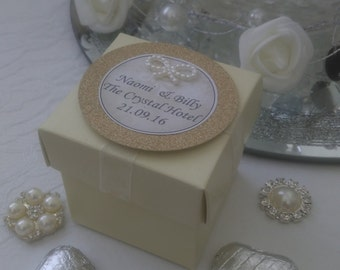 Personalised  cream & gold  wedding favour box chocolate filled and ready assembled