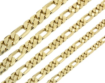 """Mens 14K Gold Plated 3, 4, 6, 7, 8, 9, 10, 11 or 12mm Figaro Link Necklace Chain 24"""" Inch"""