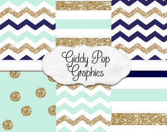 Glitter chevron, Navy, mint, gold, digital paper, instant download, small commercial use, no credit required