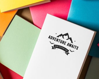 Adventure Awaits Notebook - diary journal mini notebook travel adventure book sketchbook party favors mini notebooks cute notebook logo free