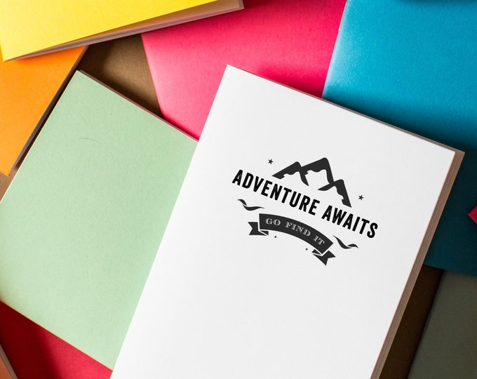 Adventure Awaits Notebook - diary journal mini notebook travel adventure book sketchbook party favors mini notebooks cute notebook logo free