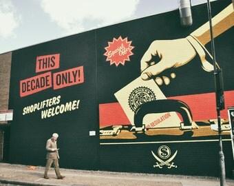 Street Art Print, Graffiti Photography, London, Shepard Fairey, Fine Art Print, Contemporary Wall Art, Urban Decor, Black Red Wall Art