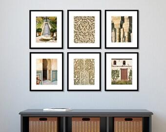 SALE, Alhambra, Print Set, Spain Photography, travel, Europe, Fine Art Prints, Gallery Wall, Home Decor, Cream, Beige, Set of 6 prints