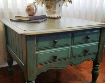 All Wood Turquoise Distressed Side Table