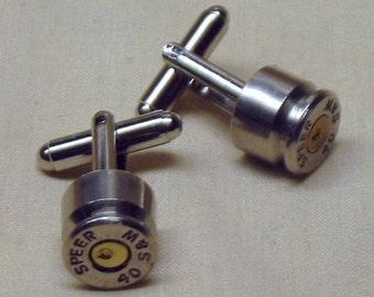 Bullet Cufflinks 40 S& W 40 cal Nickel Speer Bullet Cufflinks