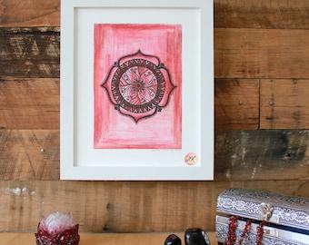 Base Chakra Mandala, Giclee Fine Art Print