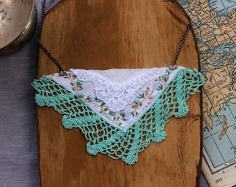 Floral Turquoise Handkerchief Necklace . Vintage Style. Lace . Statement Necklace . Bib . Elegant. Special Ocassion.