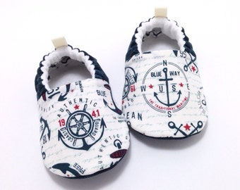 Anchors Baby Shoes, Soft Sole Baby Shoes, Baby Booties, Toddler slippers, nautical Baby Shoes, sailor baby, Coast Guard baby, anchors