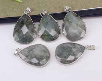 5-10pcs Nature Labradorite Stone Drop Shape Druzy Pendant,Druzy Gemstone Labradorite Pendant For Jewelry Making
