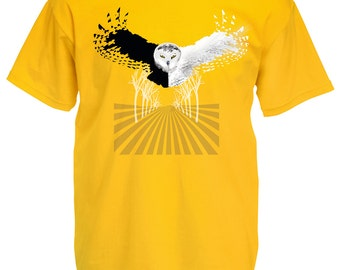 Owl tshirt. Flying owl t shirt. Graphic tees for men in yellow. Abstract modern bird art tees. Wildlife nature snowy owl shirt. Gift for guy