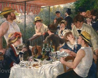 Luncheon of the Boating Party- Pierre Auguste Renoir hand-painted oil painting reproduction for home decor wall art or gift