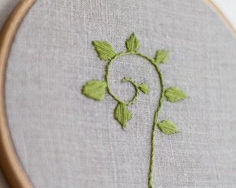 Hand Stitched Green Fiddlehead Fern Hoop Art